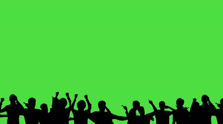 tuşları : Crowd of fans dancing on green screen. Concert, Jumping, Dancing, Hands up.