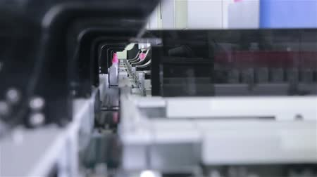 mikser : Pharmaceutical industry. Production line machine conveyor at pharmacy factory. Stok Video