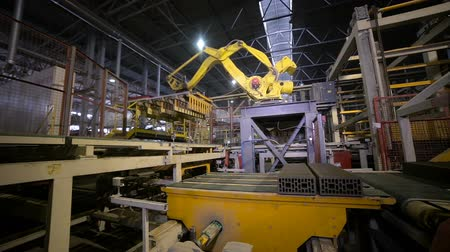 production tool : Automated machinery equipment. Robotic arm assembling products, bricks. Stock Footage
