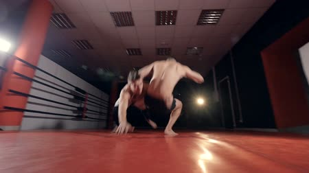 self injury : MMA Fighters In gym training.