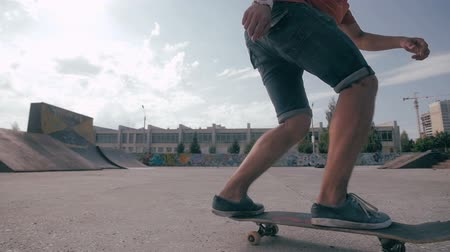 no ramp : Freestyle in the skateboarding. Stock Footage