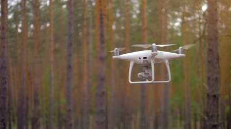 hélice : Digital drone flies wirelessly in a forest among trees.