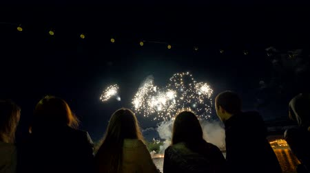 firework display : Over the shoulder of people watching the fireworks.