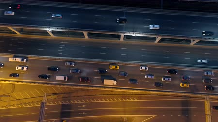 clogged : Traffic on a highway at night. Aerial. 4K.