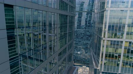 realtor : Modern city. Impressive skyscrapers from drone. 4K. Stock Footage