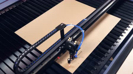 emergency stop : Laser cutting machine for wood working with plywood. 4K.
