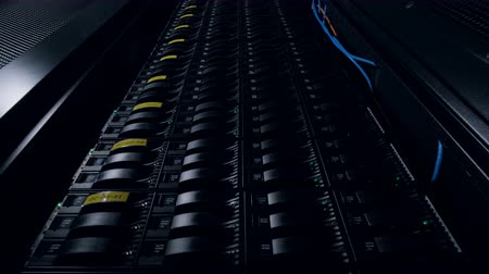 hdd : Operation data storage tower with green indicators. Stock Footage