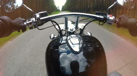 extreme : A fist seat view on a motorcycle ride. 4K.