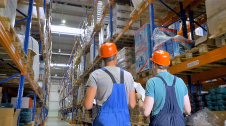 supervisor : Two inspectors talk during work at a warehouse in a back view. Stock Footage