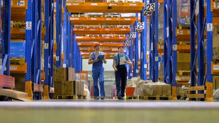 хранилище : Two warehouse workers walk under high orange storage racks.