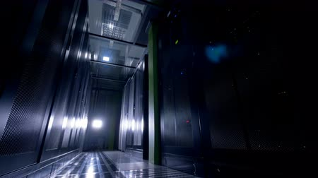 locker : A data storage room with lights off.