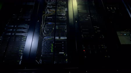 hdd : Blinking lights of data storage towers working all day long. Stock Footage