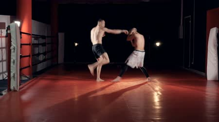 superior : Two fighters spar in a dark lit gym.