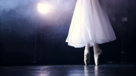тапочка : Slow steps on dancing pointe shoes under a spotlight.