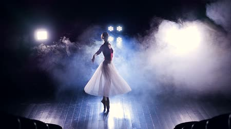 gracefully : A view from above on a dancing ballerinas silhouette. Stock Footage