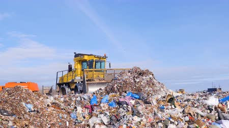 rakás : A landfill compactor bulldozer levels down a pile of trash. Water, air contamination concept. Stock mozgókép