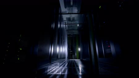 жесткий : Dark server room. Network servers in a data center. Стоковые видеозаписи