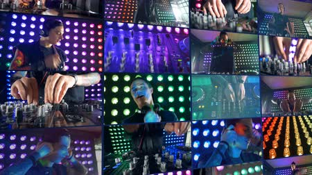 toggle : A multiscreen montage of a DJ at work at christmas party at night club. Stock Footage