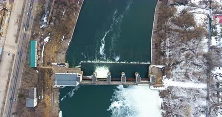 watt : Water release from dam. Aerial view from copter, drone.