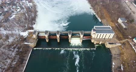 watt : Dam in the flood. Water release from dam. Aerial view from copter, drone.