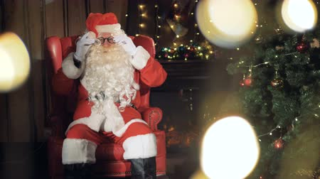 x mas : Cheerful Santa Claus greetings. Stock Footage