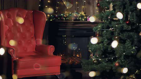 сказка : Christmas interior fireplace. Santa Claus chair near Christmas tree. 4K.