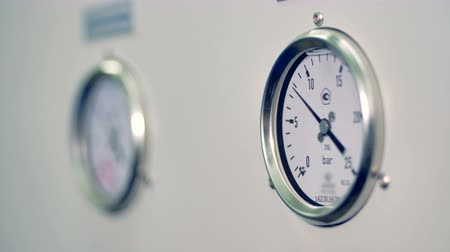 air pump : A working pressure gauge working in a close view. Stock Footage