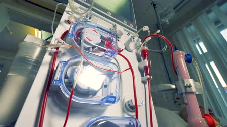 erythrocyte : A close low view on a dialysis machine. Stock Footage