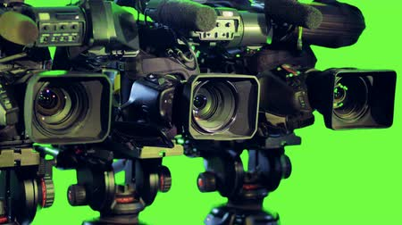 keying : Professioanl isolated cameras on a green screen. Stock Footage