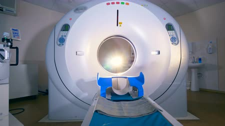 tomography : Empty MRI tomograph, scanner in a modern hospital.