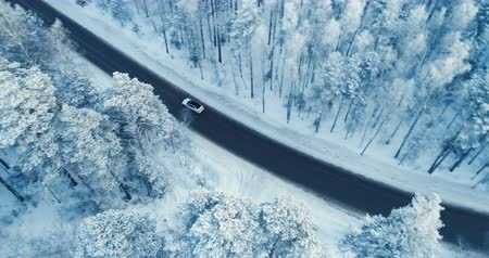 escorregadio : Aerial view of a car driving on a snowy forest road. 4K.