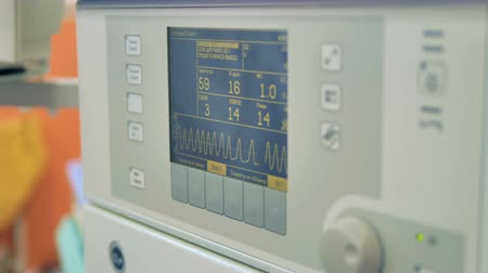 vital signs : Close up of a patient monitor showing vital signs. Stock Footage
