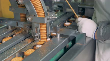 fırınlama : Process of making biscuits by a factory machine. Worker controlls the production process. Stok Video