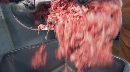 hotpot : Chopped meat is falling from a machine into a container
