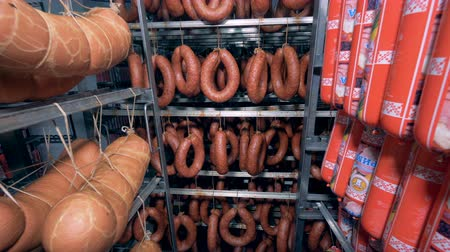 caloric : Storage facility with multiple kinds of sausages being kept in it