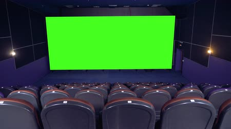 resimlerinde : Cinema movie theatre with a green screen. 4K.