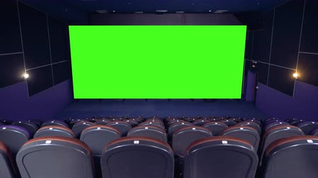 resimlerinde : Cinema hall, cinema, movie hall. Big chroma key screen in the cinema hall.