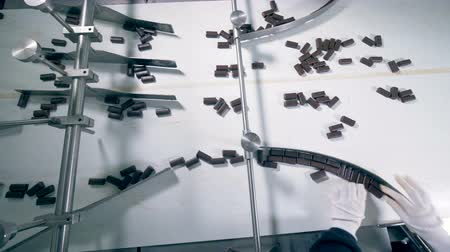 padronizada : Top view of chocolate candies moving along the conveyor belt into three different directions Vídeos