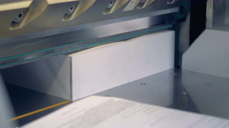 trimmings : An employee is turning around piles of paper whose odd edges are getting cut off by an industrial cutter. Stock Footage