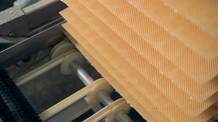 işlenmiş : Close up of waffles layers being lifted by a factory mechanism Stok Video