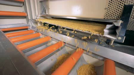 İtalyan : Macaroni are falling from a metallic shelf into a moving conveyor belt.