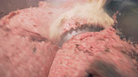 migalhas : Meat is being chopped in a grinder, breadcrumbs added, close up.