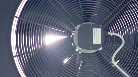 ventilátor : Close up of factory industrial ventilation fan. 4K.