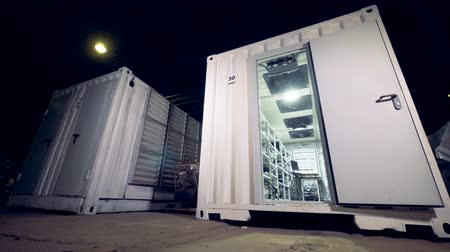 circuitry : Cryptocurrency mining Data Center in metal container. 4K. Stock Footage