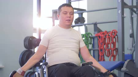 paralympics : Disabled man makes a break between approaches. Breathing restoration.