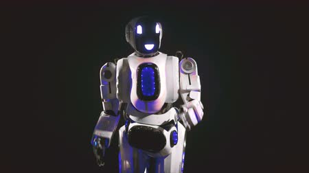 bot : A white android dances in different direction, using its arms. 4K.