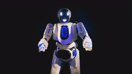 multifunctional : Shiny robot happily dances, using its arms and legs. 4K. Stock Footage