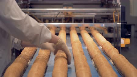 opłatek : Worker controls wafer cones production process.