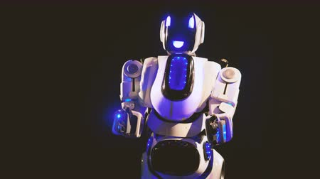 bot : White robot makes grabbing and holding movements.