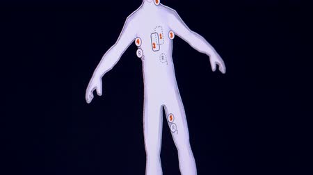 ayrılmış : Schematic image of a human body and a heart rate line on a screen Stok Video